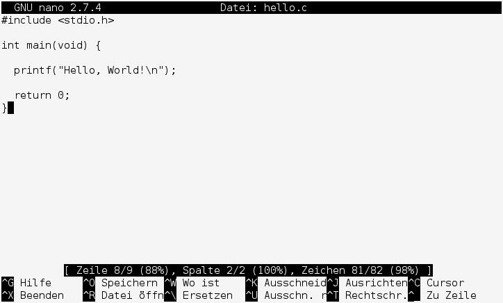 Nano in ASCII